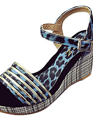 Da donna Sandali Club Shoes PU (Poliuretano) Primavera Estate Casual Formale Club Shoes Fibbia A quadri Zeppa Blu Rosa Marrone scuro7,5 -