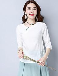 Damen Solide Stickerei Einfach Ausgehen Lässig/Alltäglich T-shirt,V-Ausschnitt Frühling Sommer ½ Länge Ärmel Leinen Mittel