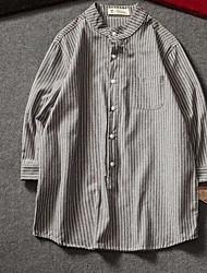Masculino Camisa Social Casual SimplesListrado Algodão Colarinho Chinês Manga ¾ Fina