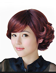 Popular Brown Color Body Wave Full Bang Synthetic Hair Daily Wigs for Women