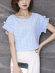 Women's Plus Size Slim Cute Summer Blouse Solid Jacquard Lace Round Neck Short Sleeve Polyester Thin