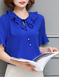 Women's Ruffles and Frills Going out Vintage Blouse,Solid Round Neck Short Sleeve Others