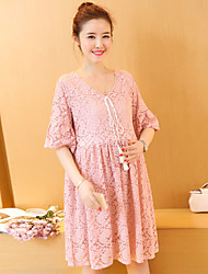 Maternity Summer Wear Fashionable Sweet  7 Minutes Of Sleeve Lace Printing  Leisure Pregnant Women Dress