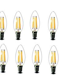 4.5W E14 Ampoules à Filament LED C35 6 COB 600 lm Blanc Chaud Décorative AC220 AC230 AC240 V 8 pièces