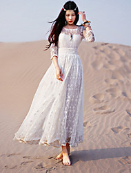 One-Piece/Dress Classic/Traditional Lolita Vintage Inspired Elegant Princess Cosplay Lolita Dress White Lace Vintage Ankle-length Dress