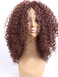 Mujer Pelucas sintéticas Sin Tapa Medio Rizado Marrón Peluca afroamericana Para mujeres de color Peluca natural Peluca de Halloween
