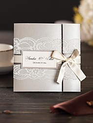 Tri-Fold Wedding Invitations 50-Invitation Cards Modern Style Pearl Paper Ribbon Bow Laces