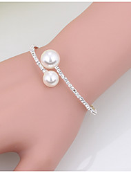 Women's Cuff Bracelet Tennis Bracelet Imitation Pearl Fashion Pearl Rhinestone Circle Jewelry ForWedding Party Special Occasion Birthday
