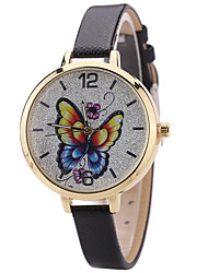 Women's Fashion Watch Wrist Watch Quartz PU Band Unique Creative Cool Casual Cute Silver Powder Multi-colored Butterfly Alloy Dial Watches