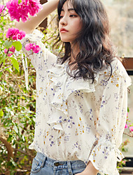 Women's Going out Simple Blouse,Floral V Neck ¾ Sleeve Silk