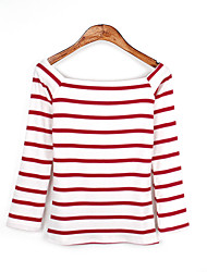 Women's Going out Simple Spring Summer T-shirt,Check Round Neck Long Sleeve Cotton Sheer