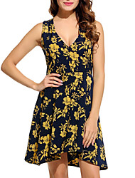 Women's Casual/Daily Work Simple Loose Dress,Solid Print V Neck Mini Sleeveless Polyester All Seasons Low Rise Micro-elastic Medium
