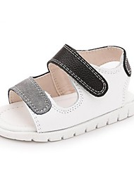 Kids' Baby Sandals First Walkers Cowhide Spring Summer Casual First Walkers Flat Heel White Black Flat