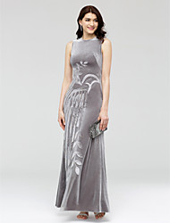 TS Couture Formal Evening Dress - Celebrity Style Sheath / Column Jewel Ankle-length Velvet with Appliques