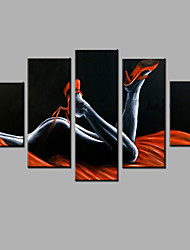 pintado a mano abstracto moderno cinco paneles lona tentación pintura al óleo para la decoración del hogar