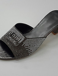 Women's Sandals Summer Fall Slingback Club Shoes Glitter Leatherette Wedding Office & Career Party & Evening Low Heel Chunky Heel