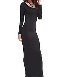Women's Casual/Daily Simple Bodycon Dress,Solid U Neck Maxi Long Sleeve Polyester Spring Summer High Rise Stretchy Thin