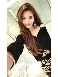 Women's Going out Casual/Daily Sexy Cute Street chic Blouse Skirt Suits,Solid One Shoulder Long Sleeve Lace Micro-elastic