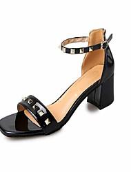 Talons féminins chaussures de club d'été partie de cuir&Robe de soirée décontractée talon aiguise boucle de strass noir rouge beige