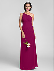 LAN TING BRIDE Floor-length Chiffon Bridesmaid Dress - Sheath / Column One Shoulder Plus Size / Petite