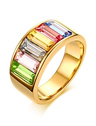 Ring AAA Cubic Zirconia Euramerican Stainless Steel Geometric Golden Jewelry For Anniversary 1pc