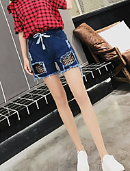 Women's High Rise Micro-elastic Jeans Shorts Pants,Sexy Wide Leg Solid