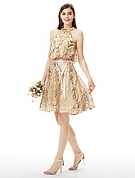 A-Line Jewel Neck Knee Length Sequined Bridesmaid Dress with Bow(s) Sash / Ribbon Sequins by LAN TING BRIDE®