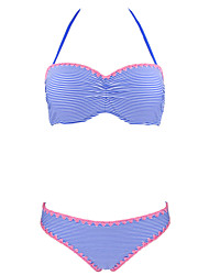 Womens Push Up Striped Lace Up Sexy Blue Low Rise Solid Swimsuit Bikini  S/M/L