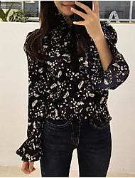 Women's Casual/Daily Simple Blouse,Floral Round Neck Long Sleeve Silk