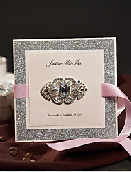 50 Vintage Brooch Wedding Invitations Set Glitter Face With Pink Ribbon Custom Birthday Invitations Card Free RSVP & Envelope NK730