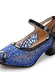 Women's Dance Shoes Sandals Modern Leatherette Low Heel Outdoor Black/Blue/Gold/Silver