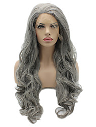 Middle Grey Color Synthetic Lace Front Wigs Body Wave Hair Heat Resistant Fiber Hair Wig