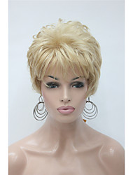 Fashion Curly Golden Blonde With Pale Blonde Highlights Short Synthetic Hair Full Women's  Wig For Everyday