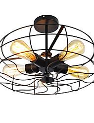 Vintage Loft Creative Lighting Lamps Metal Semi Flush Mount Light 5 Lights Painted Finish Industrial Fan Chandelier