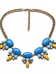 Mulheres Colar de Fios Formato Oval Original Personalizado Azul Claro Jóias Para Casual