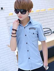 Masculino Camisa Social Casual Simples Verão,Sólido Estampado Algodão Linho Couro de Porco Colarinho Chinês Manga Curta Fina