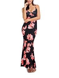 Trapèze Robe Femme SortieFleur A Bretelles Maxi Sans Manches Polyester Eté Taille Normale Micro-élastique Moyen