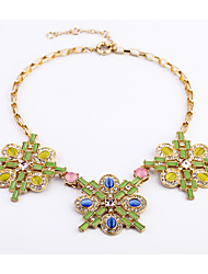 Women's Pendant Necklaces Flower Chrome Unique Design Fashion Rainbow Jewelry For Birthday Thank You Daily 1pc
