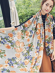 2017 Cotton Rose Scarf Shawl Thin Long Rectangle Print Women's