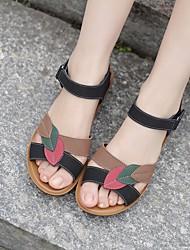 Damen-Sandalen-Lässig-PUKomfort-Schwarz Rot