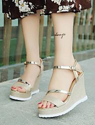 Women's Sandals Spring Summer Flange Antiskid Peep Toe Grace Club Shoes Comfort Leatherette Dress Casual Wedge Heel Buckle Sliver Black Gold