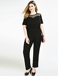 Really Love Women's High Rise Work Going out Casual/Daily Jumpsuits,Sexy Vintage Street chic Straight Slim Mesh Sexy Solid Check All Seasons