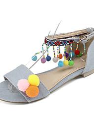 Women's Sandals Spring Summer Comfort Novelty Fabric Customized Materials Office & Career Dress Casual Flat Heel Pom-pom