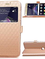 Para huawei p8 lite (2017) p8 lite caso titular de la tarjeta de cubierta con soporte con ventanas flip cuerpo completo de color sólido