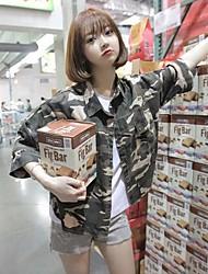 Feminino Jaqueta Para Noite Casual Simples Outono,Estampado Curto Algodão Colarinho Chinês