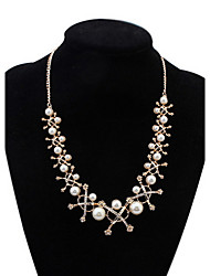 Pearl Long Chain Pendant Necklace Euramerican Africa Hypoallergenic Punk Statement Strands Rhinestone Necklaces