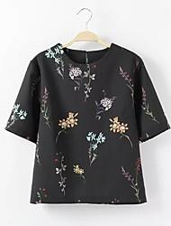 Dames Vintage T-shirt,Casual/Dagelijks Bloemen Ronde hals Halflange mouw Rayon
