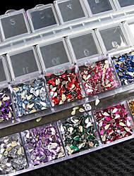 Nouveau!!! 3000 pièces de mélange de couleurs de teardrop nail art sticker gemmes strass deco brille belle décoration de clous