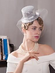 Tule Linho Capacete-Casamento Ocasião Especial Casual Escritório e Carreira Fascinador Chapéus Véus de Rede 1 Peça
