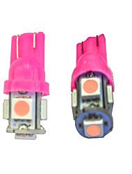 10pcs t10 5 * 5050 smd conduit voiture ampoule rose lumière dc12v